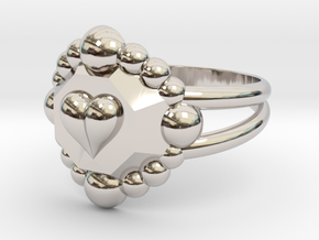 Size 7 Diamond Heart Ring E in Rhodium Plated Brass