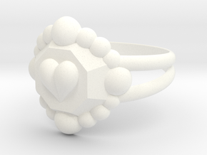 Size 9 Diamond Heart Ring E in White Processed Versatile Plastic