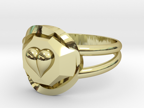Size 7 Diamond Heart Ring F in 18k Gold Plated Brass