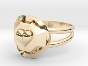 Size 7 Diamond Heart Ring F in 14K Yellow Gold