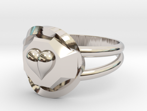 Size 8 Diamond Heart Ring F in Rhodium Plated Brass