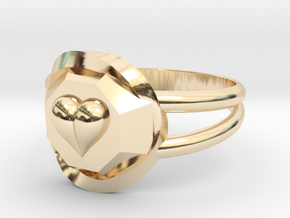 Size 9 Diamond Heart Ring F in 14K Yellow Gold