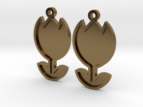 Tulip Earrings Thin in Polished Bronze