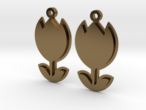 Tulip Earrings Thick in Polished Bronze