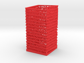 PI Pen Holder Square Shaped in Red Processed Versatile Plastic