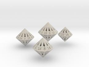 Large Dipyramidal Dice Set in Natural Sandstone