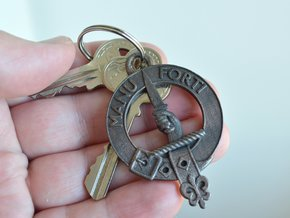 MacKay Clan Crest key fob in Polished and Bronzed Black Steel