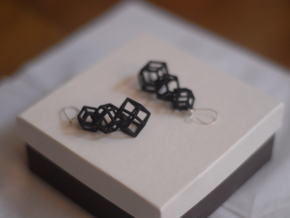 rhombic dodecahedron earrings in White Natural Versatile Plastic