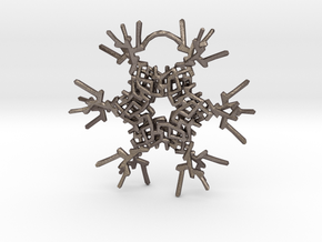 Snowflake Ornament in Polished Bronzed Silver Steel