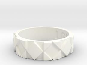 Futuristic Rhombus Ring Size 8 in White Processed Versatile Plastic