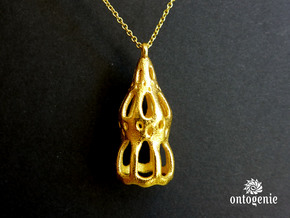 Dictyocysta pendant in Polished Gold Steel