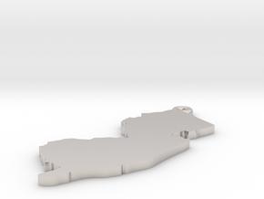 NJ Keychain / Pendant  in Rhodium Plated Brass