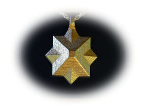 PyraStar™ (Pyramid & Star) Pendant w/ Smooth Walls in Matte Gold Steel