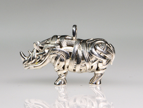 The Rhino Pendant  in Polished Silver