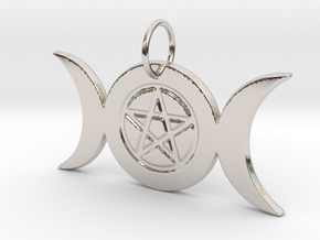 Triple Moon Pentacle Pendant - pie slice bail in Rhodium Plated Brass
