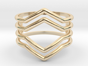 4V ring size K, 50 (small) in 14k Gold Plated Brass