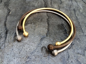 VIBES - Solid Choker Size S in Polished Bronzed Silver Steel