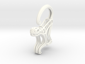 Spider Monkey Wireframe Keychain in White Processed Versatile Plastic