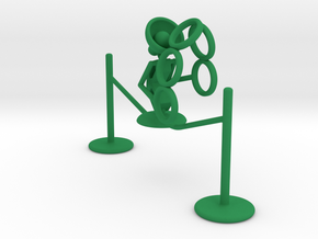 "Lala ""Walking in rope & throwing rings"" - DeskToys in Green Strong & Flexible Polished"