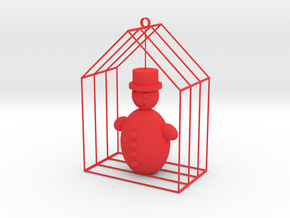Christmas home with snowman in Red Processed Versatile Plastic