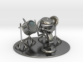 "Lala ""Trying Drums"" - DeskToys in Fine Detail Polished Silver"