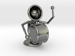 """Lala """"Playing Drums"""" - DeskToys in Fine Detail Polished Silver"""