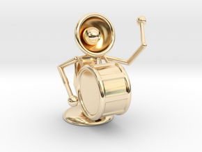 "Lala ""Playing Drums"" - DeskToys in 14k Gold Plated Brass"