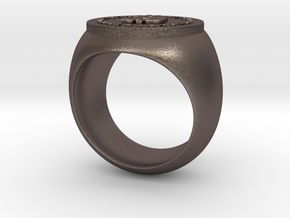 Bitcoin Ring in Polished Bronzed Silver Steel