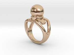 Black Pearl Ring 17 - Italian Size 17 in 14k Rose Gold Plated Brass