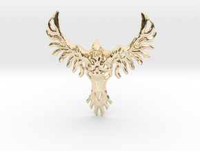 Rebirth Phoenix & Bull Skull Pendant: Small in 14k Gold Plated Brass