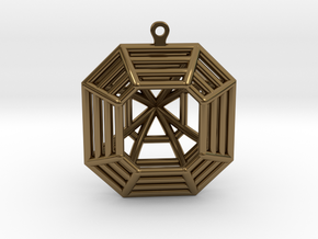 3D Printed Diamond Asscher Cut Earrings (Large) in Polished Bronze
