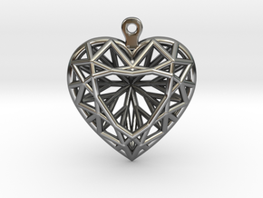 3D Printed Diamond Heart Cut Earrings  in Fine Detail Polished Silver