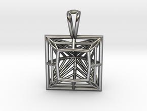 3D Printed Diamond Princess Cut Pendant by bondswe in Fine Detail Polished Silver