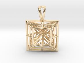 3D Printed Diamond Princess Cut Pendant by bondswe in 14k Gold Plated Brass