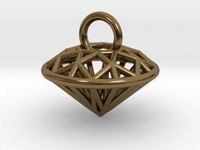 3D Printed Diamond is My Best Friend Pendant Small in Polished Bronze