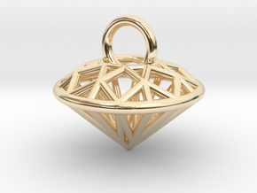3D Printed Diamond is My Best Friend Pendant Small in 14k Gold Plated Brass