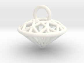 3D Printed Diamond is My Best Friend Pendant Small in White Processed Versatile Plastic