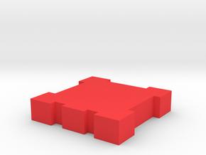 Game Piece, Square Walls in Red Processed Versatile Plastic