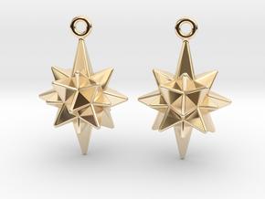 Moravian Star Earrings in 14K Yellow Gold