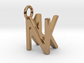 Two way letter pendant - KN NK in Polished Brass