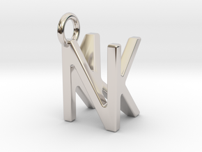 Two way letter pendant - KN NK in Rhodium Plated Brass