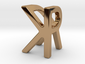 Two way letter pendant - KR RK in Polished Brass
