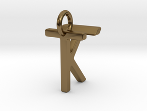 Two way letter pendant - KT TK in Polished Bronze