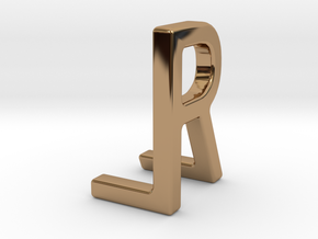 Two way letter pendant - LR RL in Polished Brass