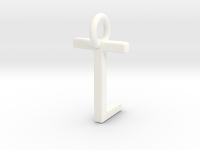 Two way letter pendant - LT TL in White Processed Versatile Plastic