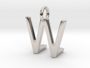 Two way letter pendant - LW WL in Rhodium Plated Brass