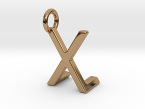 Two way letter pendant - LX XL in Polished Brass