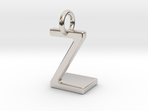 Two way letter pendant - LZ ZL in Rhodium Plated Brass