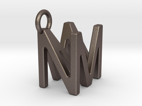 Two way letter pendant - MN NM in Polished Bronzed Silver Steel