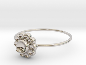 Size 10 Shapes Ring S4 in Rhodium Plated Brass